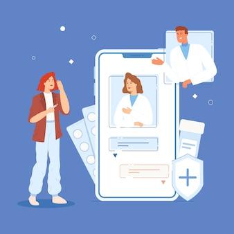 Een meisje met een temperatuur communiceert online met artsen via een chat aan de telefoon