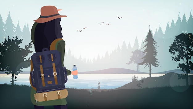 Een meisje met een toeristenrugzak kijkt in de verte.