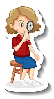 Een meisje met een vergrootglas stripfiguur sticker
