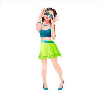 Een meisje met kort haar en een zwarte bril staat en glimlacht. casual kleding. groene korte jurk. geïsoleerde illustratie in cartoon-stijl.