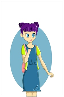 Een meisje met paars haar schattig