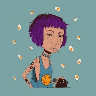Een meisje met skateboard geniet van lolly