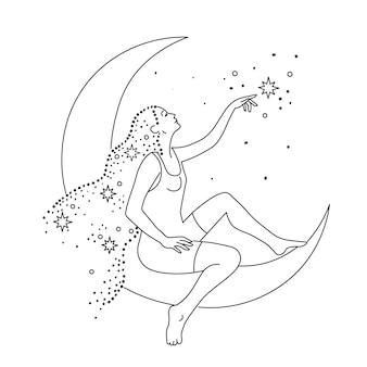 Een meisje met sterrenstof in haar haar zit bij de halve maan in de lucht en raakt de ster aan