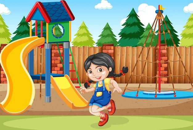 Een meisje op speelplaats