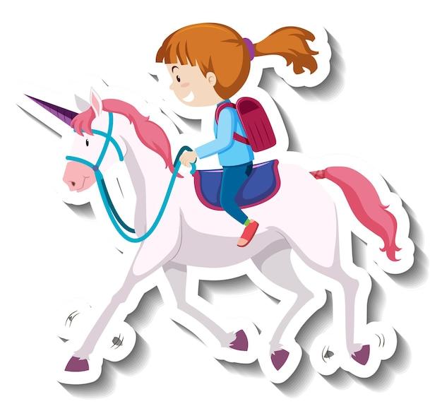 Een meisje rijdt eenhoorn cartoon sticker