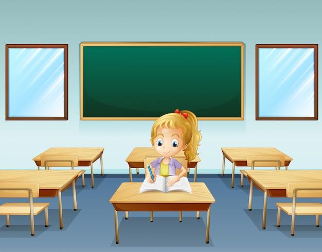 Een meisje schrijft met een leeg bord aan de achterkant