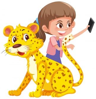 Een meisje selfie met tijger