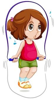 Een meisje springt over