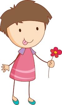 Een meisje stripfiguur met een bloem in doodle stijl geïsoleerd