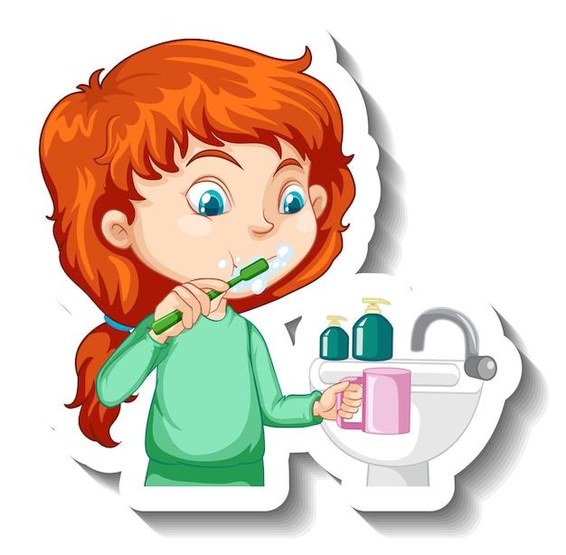 Een meisje tandenpoetsen stripfiguur sticker