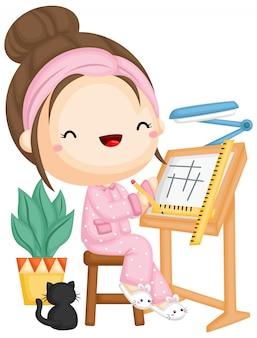 Een meisje werkt met haar pyjama aan een nieuw ontwerp