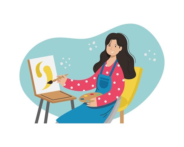 Een meisjeskunstenaar schildert een beeld. creatieve beroepen.