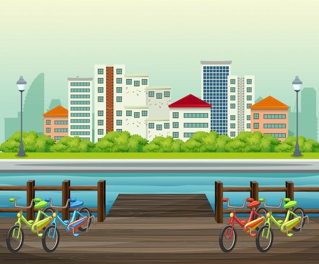 Een mening van de stadsbouw van het park