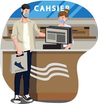 Een mens die zijn schoenen betaalt bij de kassierillustratie van de schoenenwinkel