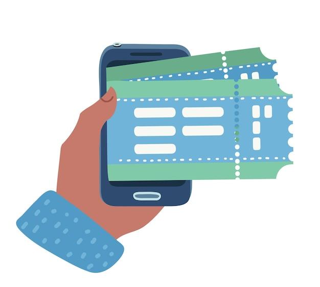 Een menselijke hand mobiele telefoon en tickets