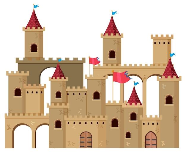 Een middeleeuwse historische kasteel cartoon stijl