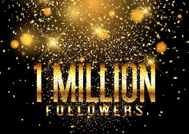Een miljoen volgers confetti viering banner