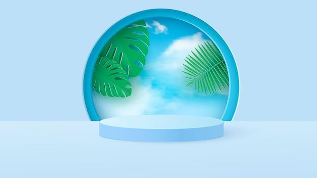 Een minimale scène met een lichtblauw cilindrisch podium met tropische bladeren tegen de lucht.