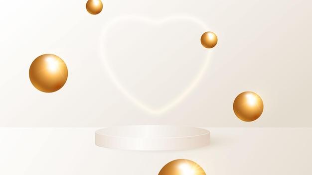 Een minimalistische scène met een beige cilindrisch podium en vliegende gouden ballen.