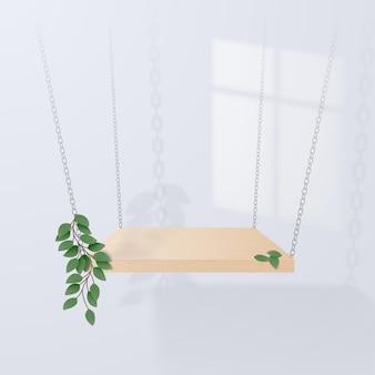 Een minimalistische scène met een houten podium op een witte achtergrond die aan kettingen met bladeren hangt. plaats voor productpresentatie.