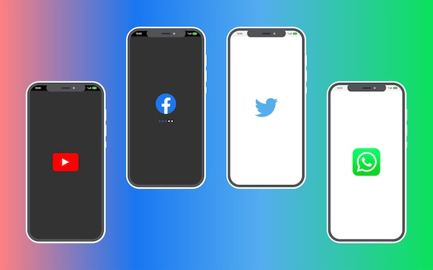 Een mockup-smartphone op de blauwe en groene achtergrond vectorillustratie