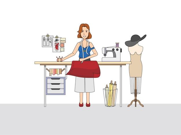 Een modeontwerper aan het werk