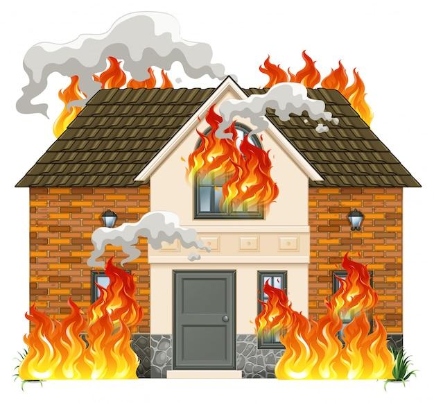 Een modern huis in brand