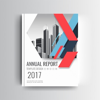 Een modern jaarverslag omslagmap met blauw en rood geometrisch accent