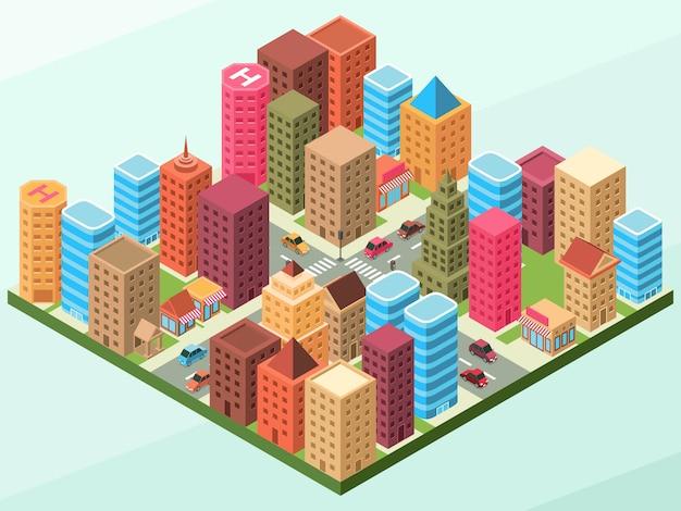 Een modern stadslandschap met enkele gebouwen op elk blok en met wegen met auto's en