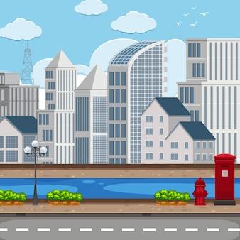 Een modern stadslandschap Premium Vector