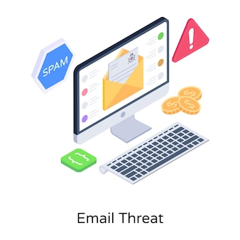 Een moderne isometrische illustratie van e-mailbedreiging
