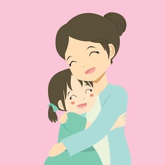 Een moeder die haar dochter knuffelt
