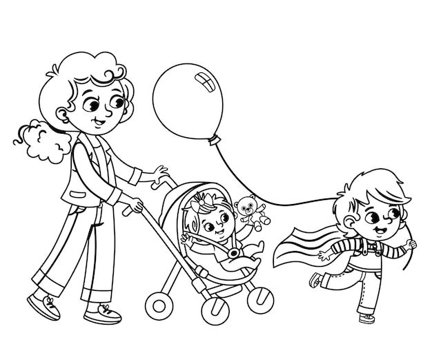 Een moeder die haar kinderen meeneemt naar een wandeling zwart-wit vectorillustratie