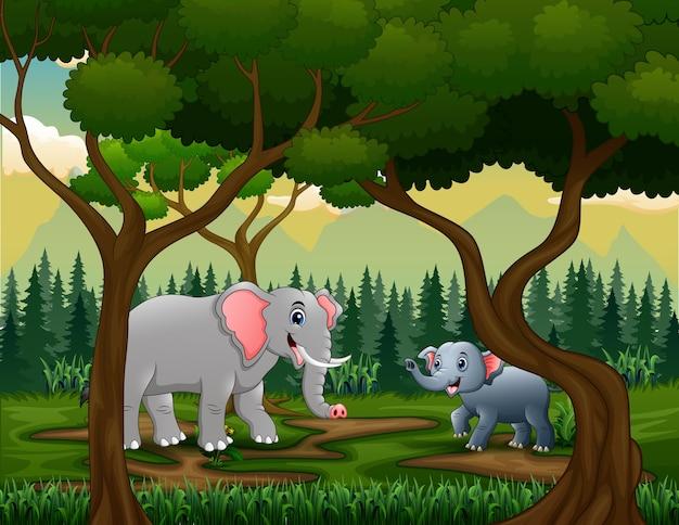 Een moeder en jonge olifanten in de jungle