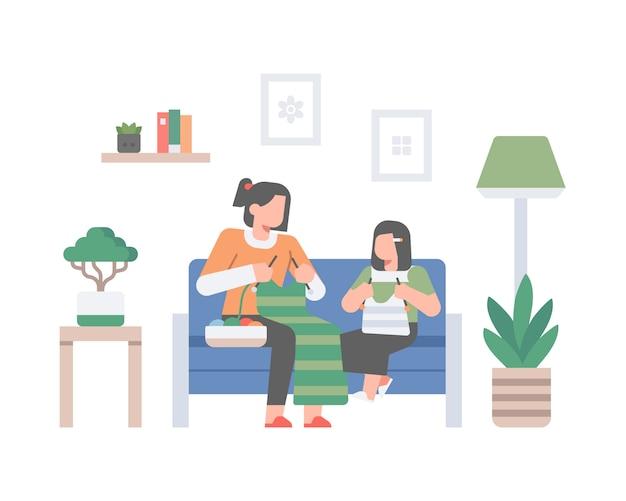 Een moeder leert haar dochter thuis breien