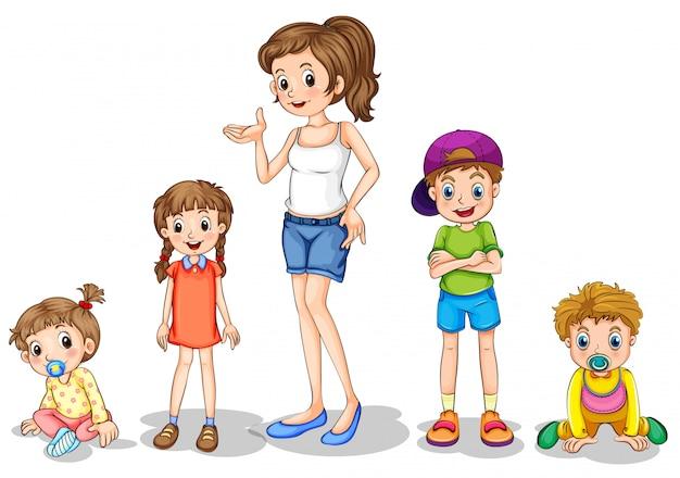 Een moeder met haar vier kinderen
