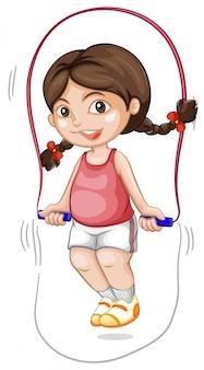 Een mollig meisje dat het touw overslaat
