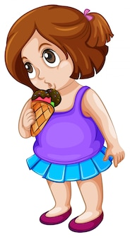 Een mollig meisje dat roomijs eet