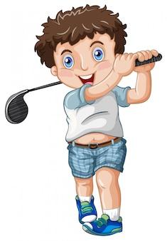 Een mollige mannelijke golfer