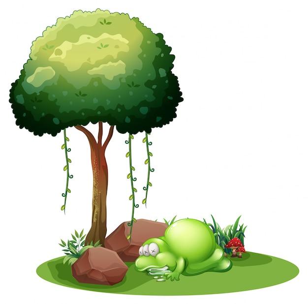 Een monster dat onder de boom slaapt