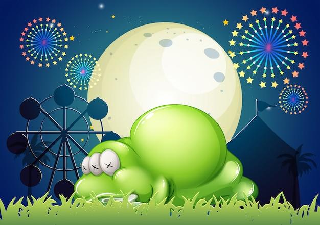 Een monster dat op het carnaval slaapt