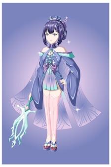 Een mooi anime meisje paars haar met blauw paars kostuum brengt het zwaard