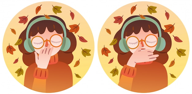 Een mooi meisje in een bril en warme koptelefoon voert ademhalingsoefening. geïsoleerd karakter dat twee posities van de handen illustreert tijdens de uitvoering van pranayama. herfst thema.