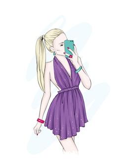 Een mooi meisje in stijlvolle kleding.
