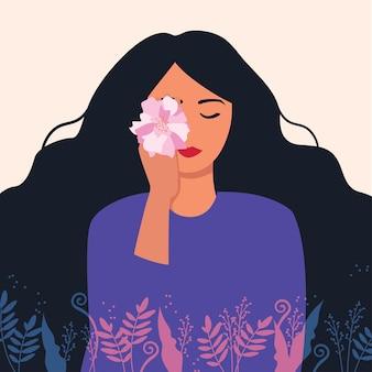 Een mooi meisje met een bloem. vectorillustratie van een meisje met lang haar. leuke platte cartoonsjabloon voor kaarten en posters. internationale vrouwendag.