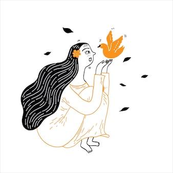 Een mooi meisje met lang haar plaagt met een vogeltje. vector illustratie handgetekende