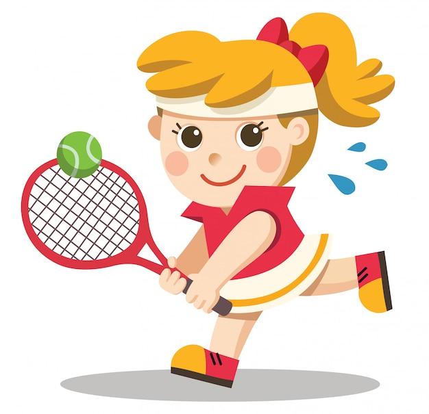 Een mooi meisje / tennisser met een racket in haar hand.