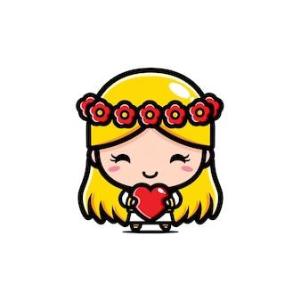 Een mooi schattig meisje knuffelt een hart