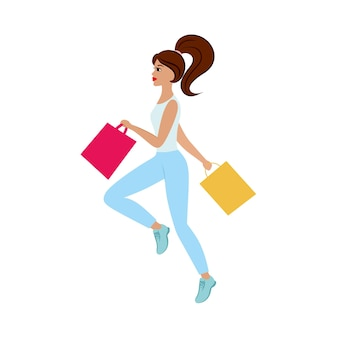 Een mooi slank meisje rent naar de winkel met boodschappentassen voor kortingen. promotie, beste aanbiedingen. reclameillustratie voor een kleding-, cosmetica- en schoenenwinkel. platte vectorillustraties