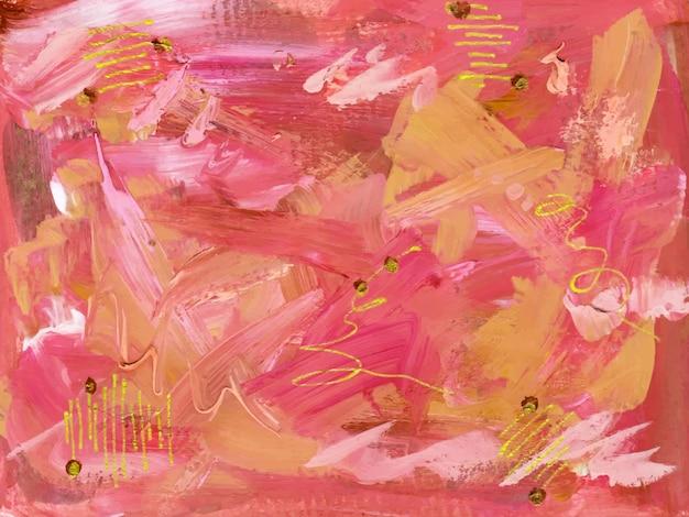 Een mooie handgetekende roze abstracte gouache aquarel achtergrond